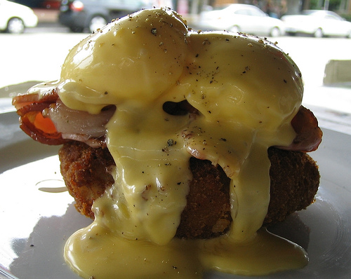 great eggs benedict on a hash brown